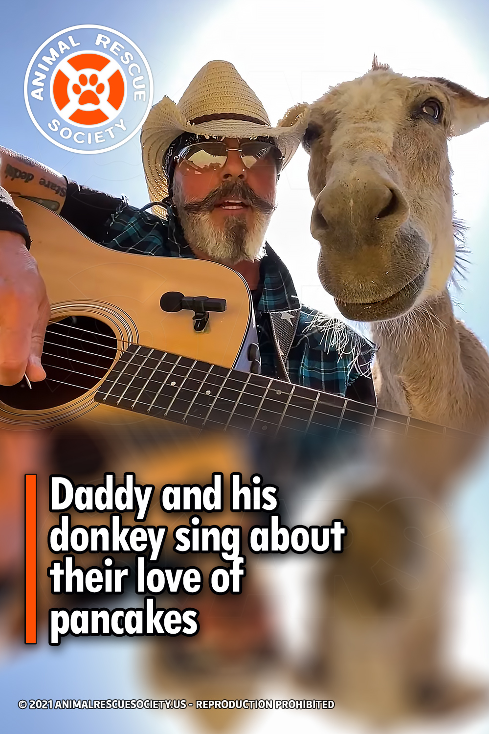 Daddy and his donkey sing about their love of pancakes